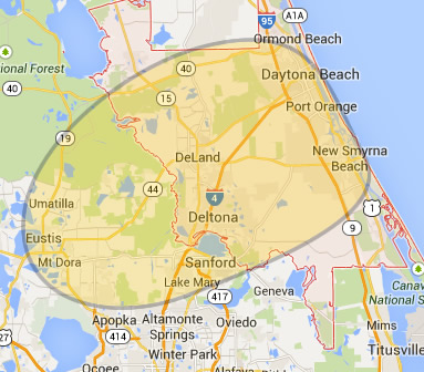 Deland and Volusia County map